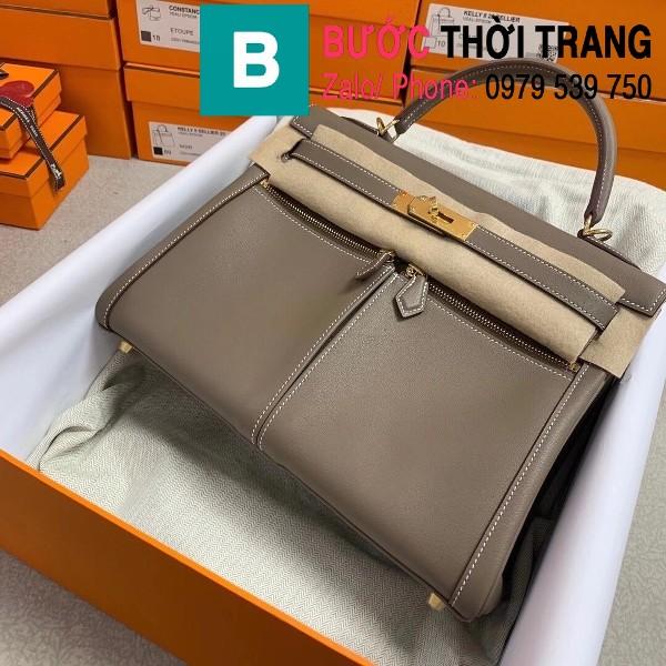 Túi xách Hermes Kelly Lakis Bag siêu cấp da bê màu nâu xám size 32cm