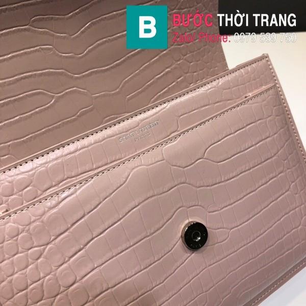 Túi đeo chéo YSL Saint Laurent bag siêu cấp da bê dập vân cá sấu màu hồng size 22cm - 442906