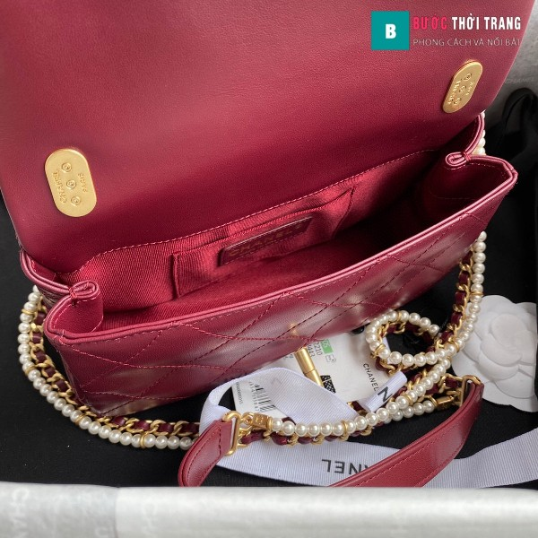 Túi xách Chanel Flap Shoulder bag siêu cấp màu đỏ đô size 21 cm - AS2210