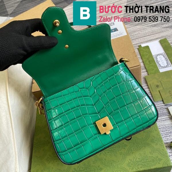 Túi xách Gucci Marmont siêu cấp da bò dập vân cá sấu màu xanh size 21cm - 547260