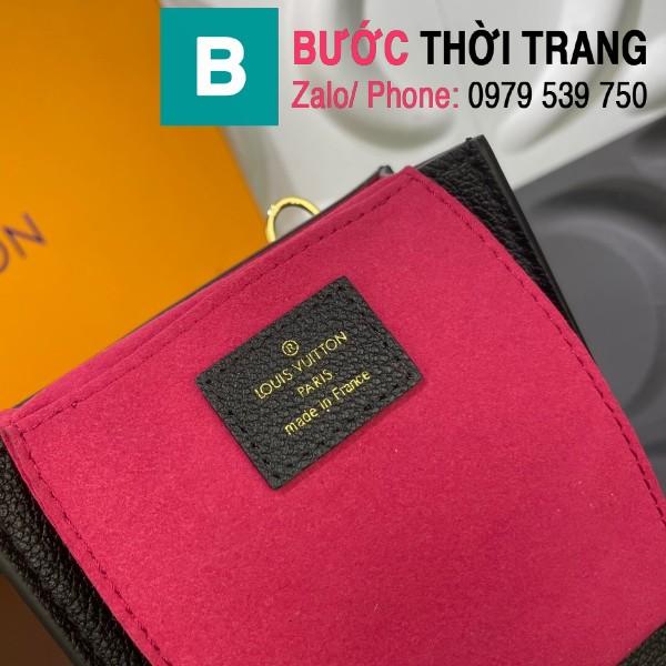 Túi xách LV Louis Vuitton Petit sac plat siêu cấp monogram màu đen họa tiết trắng size 14cm - M80449