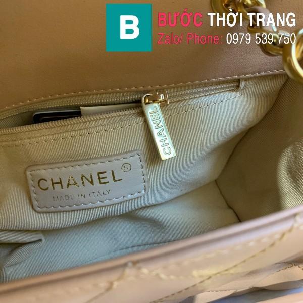 Túi xách Chanel Logo Small Flap Bag siêu cấp da bê màu nude size 21cm - AS1490