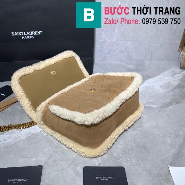 Túi xách YSL Niki siêu cấp da cừu viền lông màu nâu bò size 22cm - 533037