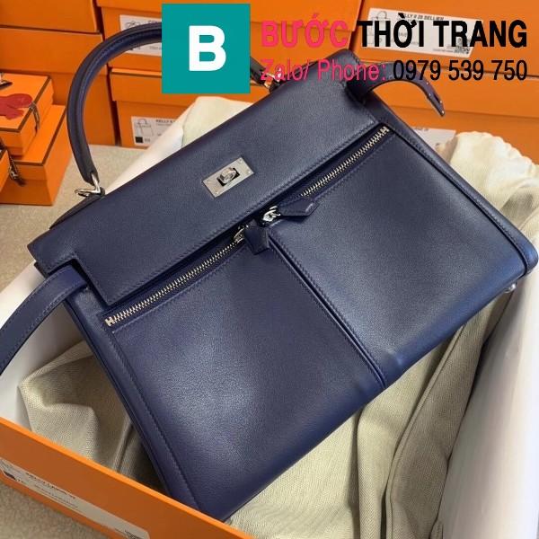 Túi xách Hermes Kelly Lakis Bag siêu cấp da bê màu xanh size 32cm Túi xách Hermes Kelly Lakis Bag siêu cấp da bê màu xanh size 32cm