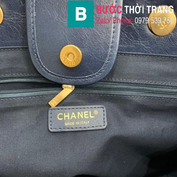 Túi xách Chanel Large tote siêu cấp da bê màu xanh tím than size 40cm - 66914