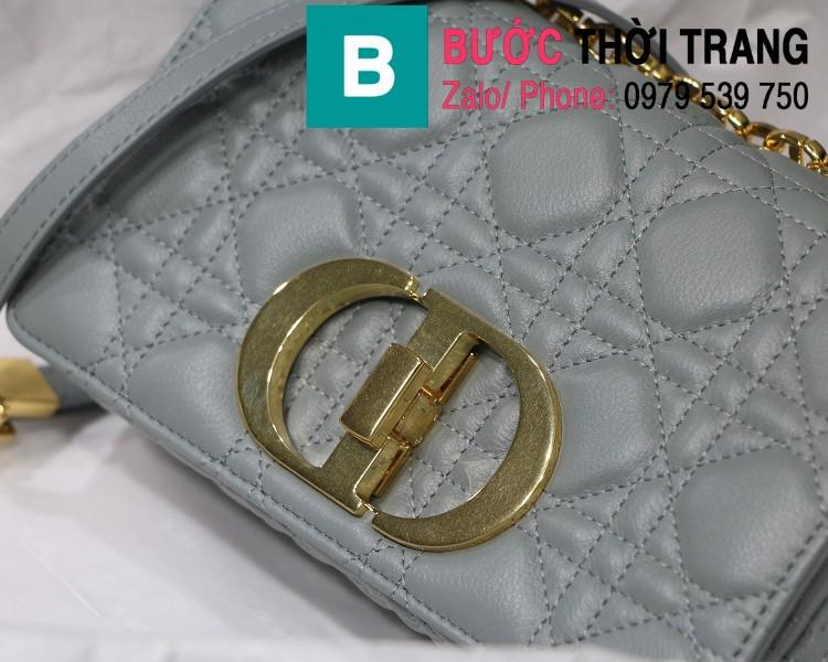 Túi xách Dior Caro siêu cấp da bò mềm màu xanh nhạt size 20cm - M8016