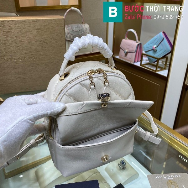 Túi Bvlgari Serventi Cabochon ba lô siêu cấp da bê màu trắng size 18cm