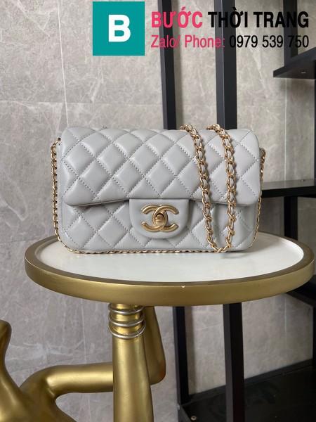 Túi xách Chanel Side Pearl Classic siêu cấp da cừu màu xám size 23cm - AS1740