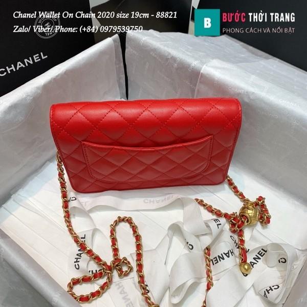 Túi Xách Chanel Classic Wallet On Chain siêu cấp 2020 size 19cm màu đỏ - A88821