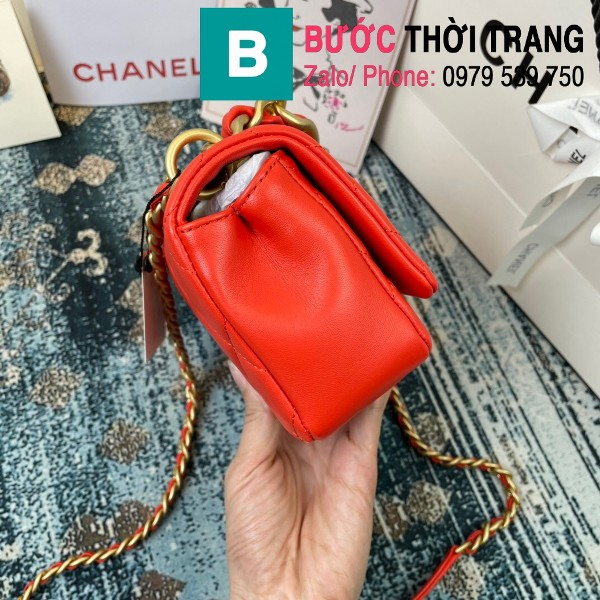 Túi đeo chéo Chanel siêu cấp nắp gập da cừu màu đỏ size 23cm - AS2388