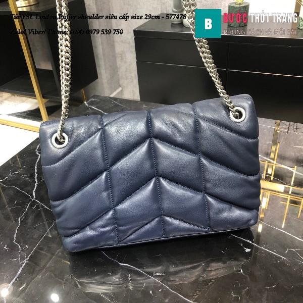 Túi YSL Loulou Puffer shoulder siêu cấp màu xanh than size 29cm - 577476