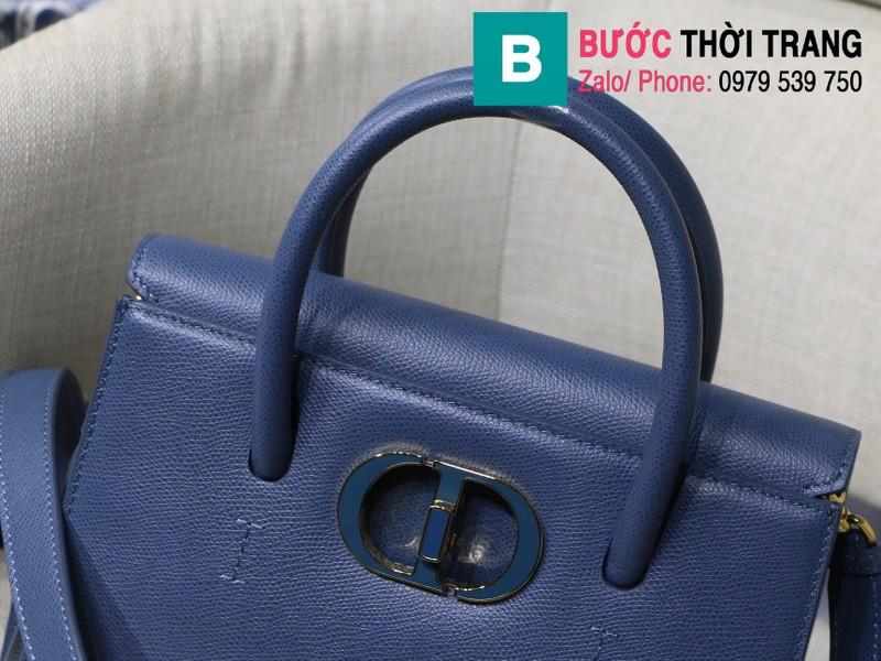 Túi xách Dior St. Honoré Bag siêu cấp da bê màu xanh size 25cm