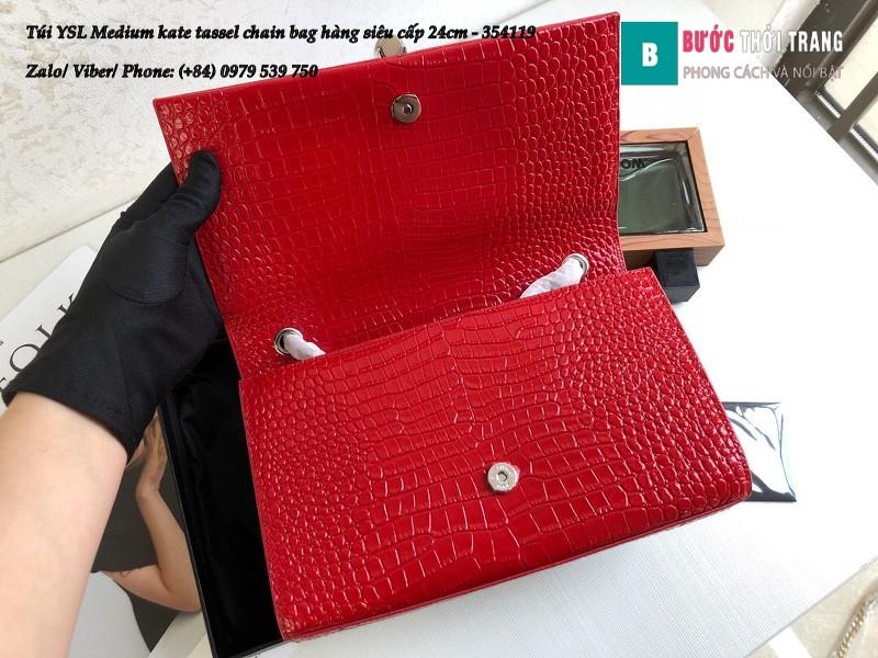 Túi YSL Medium kate tassel chain màu đỏ tag bạc dập vân cá sấu 24cm - 354119