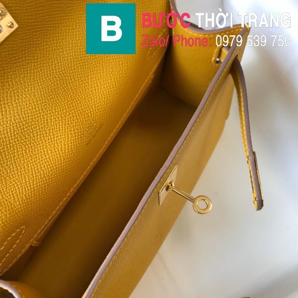 Túi xách Hermes Kelly Pochette siêu cấp da epsom màu vàng size 22cm