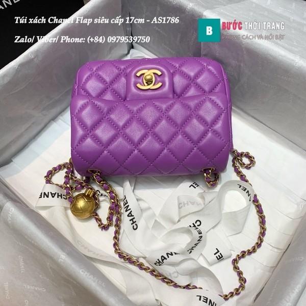 Túi Xách Chanel Flap Bag siêu cấp da cừu màu tím size 17cm- AS1786