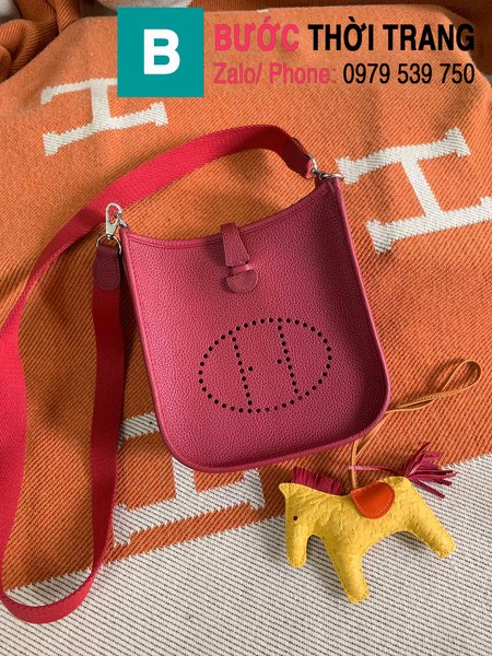 Túi xách Hermes Evelyne mini bag siêu cấp da togo màu red-violet size 17cm