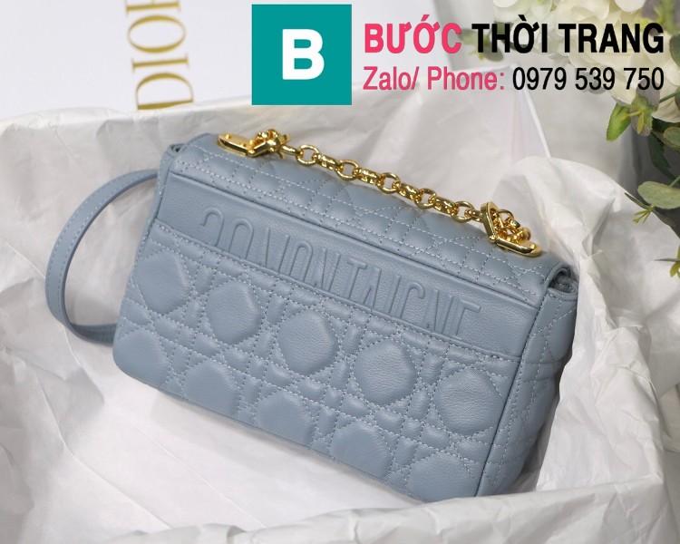 Túi xách Dior Caro siêu cấp da bò mềm màu xanh size 20cm - M8016