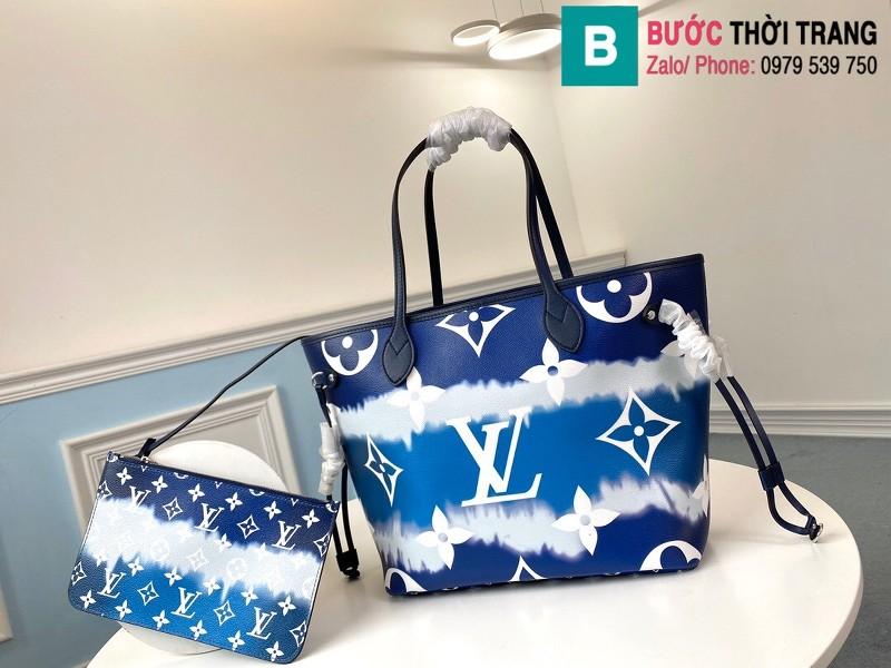 Túi xách Louis Vuitton Escale Neverfull MM siêu cấp màu xanh size 31 cm - M45128