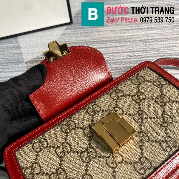 Túi xách Gucci GG mini bag with clasp closure siêu cấp viền đỏ size 18 cm - 614368