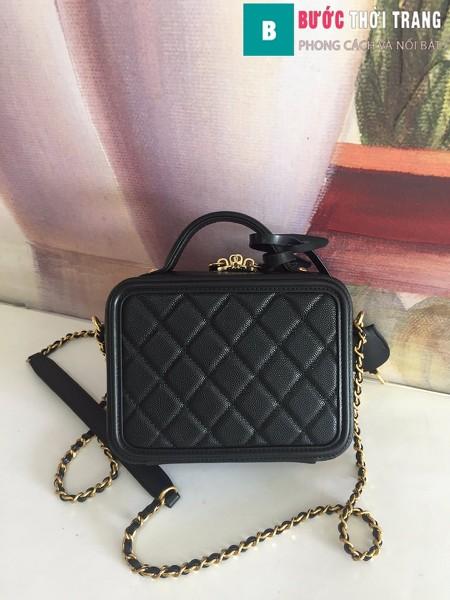 Túi xách Chanel Vanity case bag siêu cấp màu đen size 17 cm - 93314
