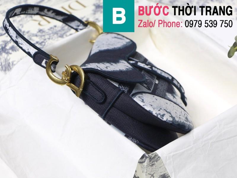 Túi xách Dior Saddle Bag siêu cấp chất liệu vải casvan màu xanh 1 size 25.5cm