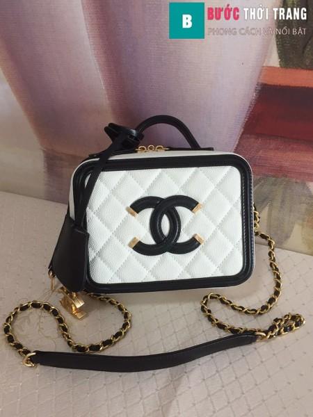 Túi xách Chanel Vanity case bag siêu cấp màu trắng viền đen size 17 cm - 93314