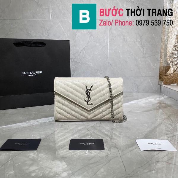 Túi xách YSL Saint laurent Monogram chanin bag siêu cấp da hạt màu trắng size 22.5cm - 377828