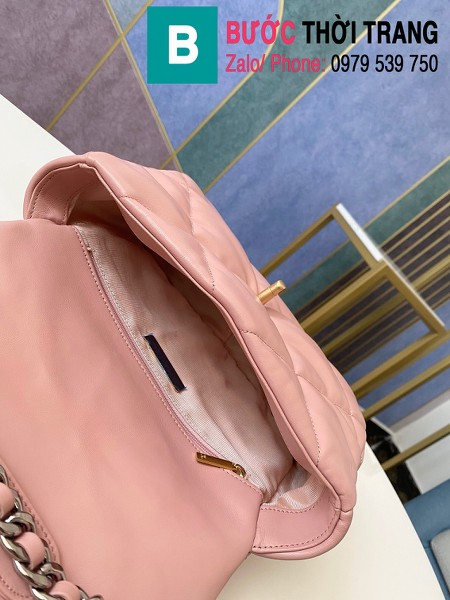 Túi xách Chanel 19 flap bag siêu cấp da bê màu hồng nhạt size 26 cm - 1160
