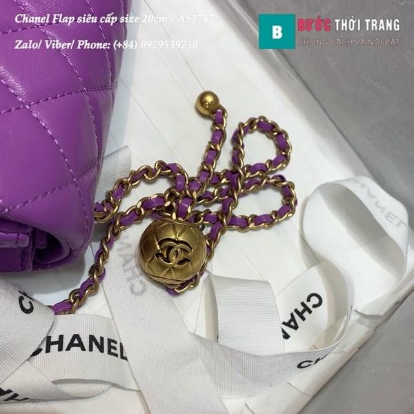 Túi xách Chanel Flap Bag siêu cấp da cừu màu tím size 20cm - AS1787