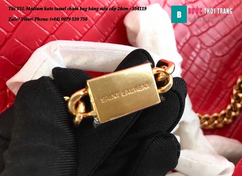 Túi YSL Medium kate tassel chain màu đỏ tag vàng dập vân cá sấu 24cm - 354119