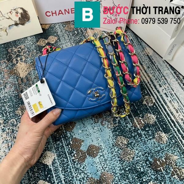 Túi đeo chéo Chanel Mini Bag siêu cấp da bê màu xanh za đậm size 19.5cm - AS2411