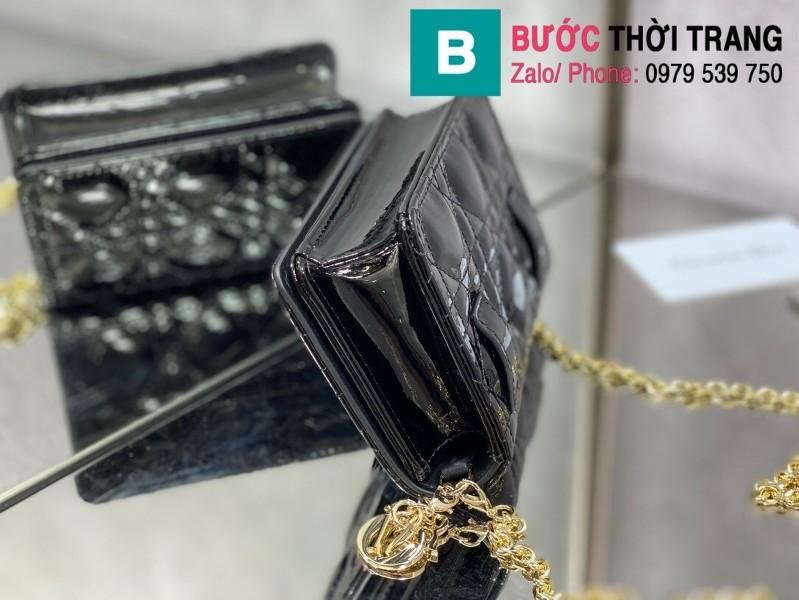 Túi xách Lady Dior Nano Pouck siêu cấp da bê màu đen size 13.5cm -D6401