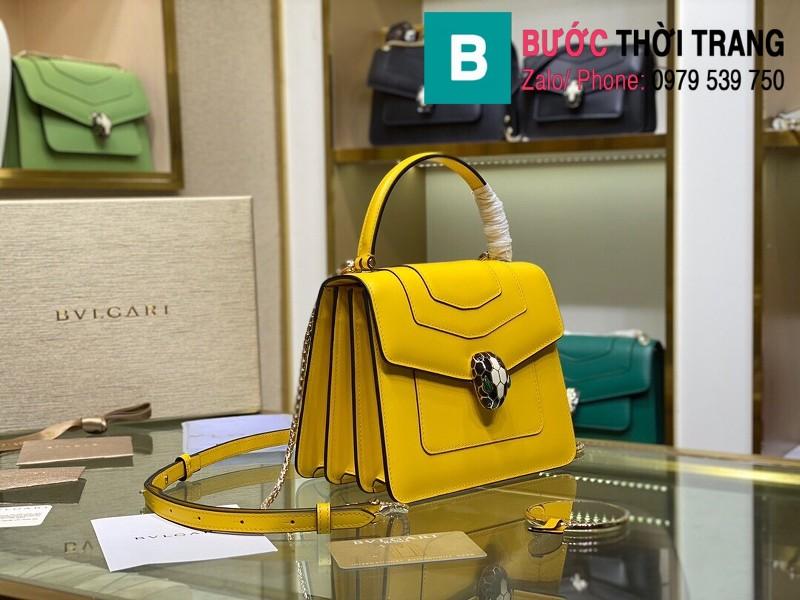 Túi xách Bvlgari serventi forever siêu cấp da bê màu vàng size 18 cm