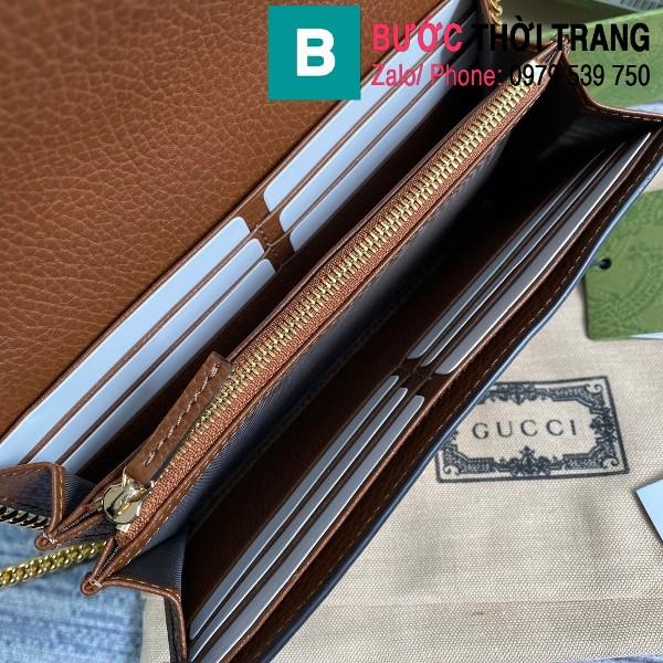 Túi xách Gucci Jacki 1961 siêu cấp casvan viền da màu xanh size 19cm - 652681