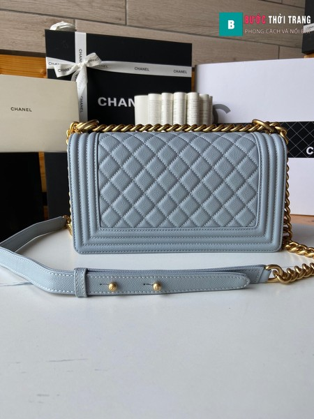 Túi xách Chanel boy siêu cấp màu xanh ngọc size 25 cm - A67086
