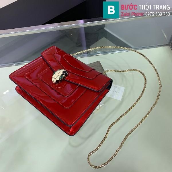Túi xách Bvlgari serventi forever siêu cấp da bóng màu đỏ size 20 cm
