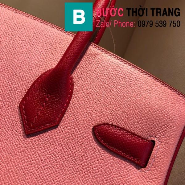 Túi xách Hermes Birkin siêu cấp da epsom màu hồng đỏ size 30cm