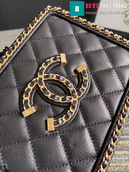 Túi xách Chanel Vanity case bag siêu cấp viền xích màu đen size 18 cm