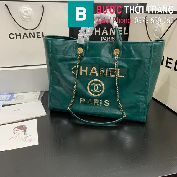 Túi xách Chanel Large tote siêu cấp da bê màu xanh size 40cm - 66914