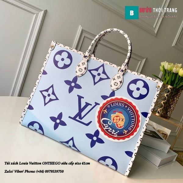 Túi xách Louis Vuitton ONTHEGO siêu cấp 2 mặt màu xanh size 41cm - M44576