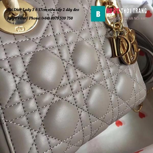 Túi Dior Lady 3 ô 17cm siêu cấp màu ghi da cừu lambskin - M44550