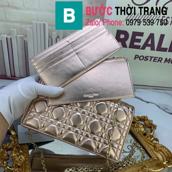 Túi ví Dior mẫu mới siêu cấp da bê bóng màu bạc size 22cm