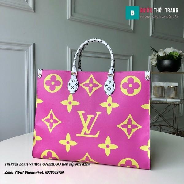 Túi xách Louis Vuitton ONTHEGO siêu cấp 2 mặt tím xanh size 41cm - M44576