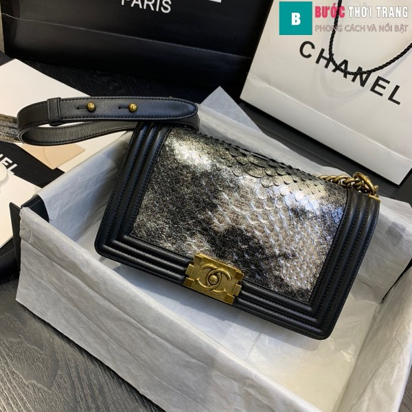 Túi xách Chanel boy siêu cấp da trăn màu đen trắng size 25 cm - A67086