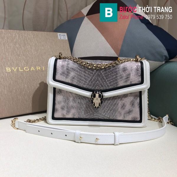Túi xách Bvlgari Seventi Diamond Blast siêu cấp da trăn màu trắng size 24 cm