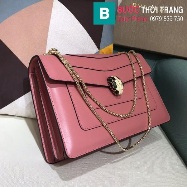 Túi Bvlgari Serventi Forever shoulder bag siêu cấp da bê màu hồng đào size 28cm - 35106