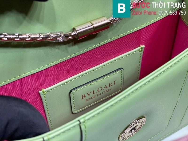 Túi xách Bvlgari serventi forever siêu cấp da bê màu xanh size 20 cm