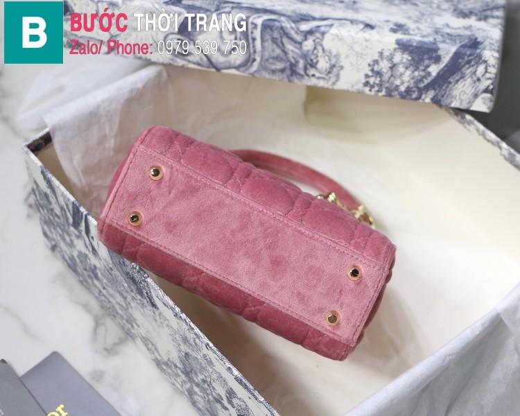 Túi xách Dior Lady Mini bag siêu cấp vải canvas màu hồng size 17 cm