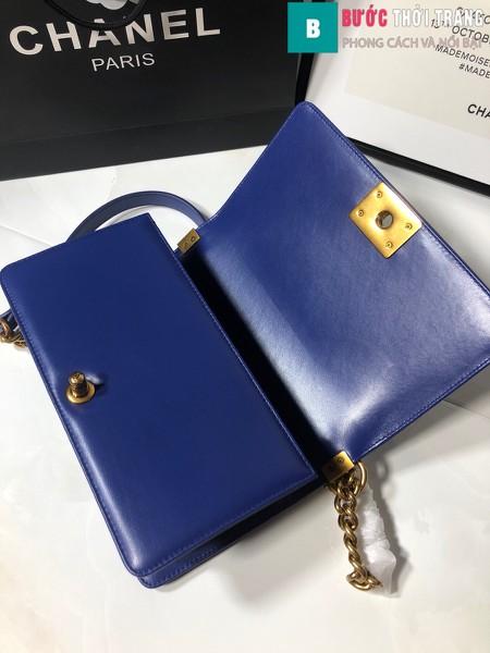 Túi xách Chanel boy siêu cấp da cá đuối màu xanh bích size 25 cm - A67086
