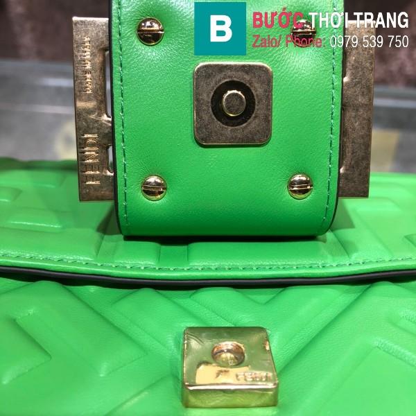 Túi xách Fendi Baguette bag siêu cấp da nappa màu xanh size 32cm